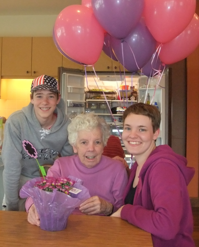 My Mom, Eleanor, and my two kids on her 80th birthday, 2012