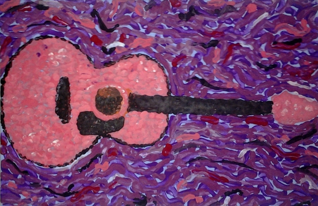 The Grow Guitar. Tempera on canvas by me.