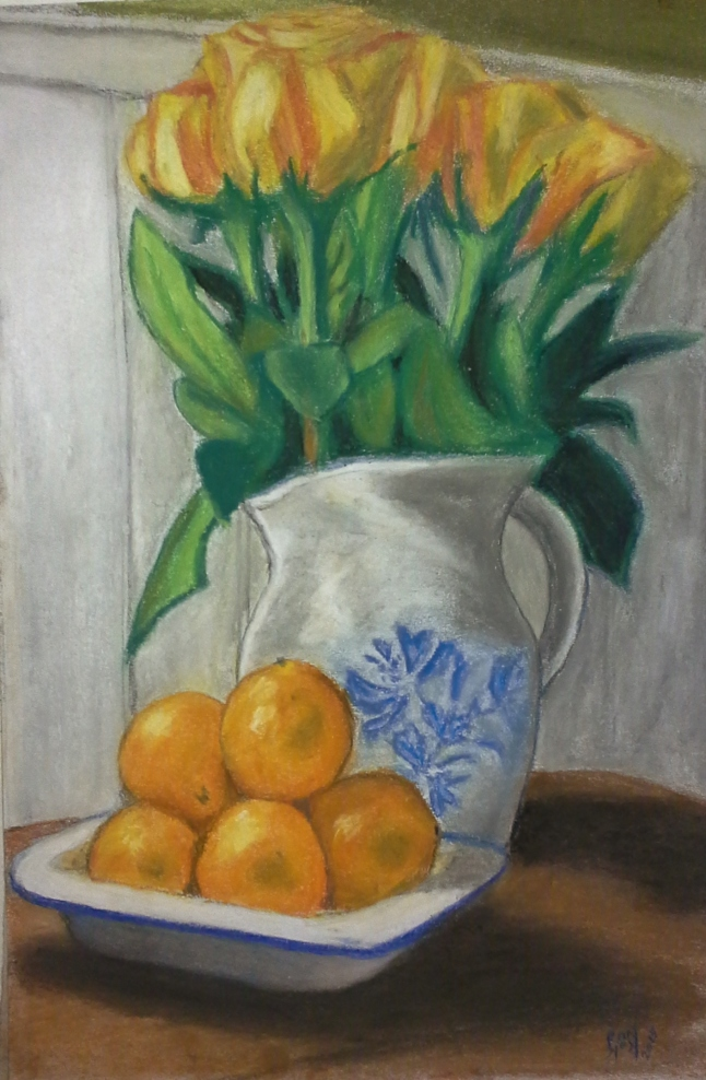 Flowers with Oranges still life for Monique, Valentine's Day 2015