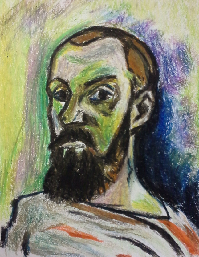 Re-Creation of Henri Matisse, self portrait in striped shirt