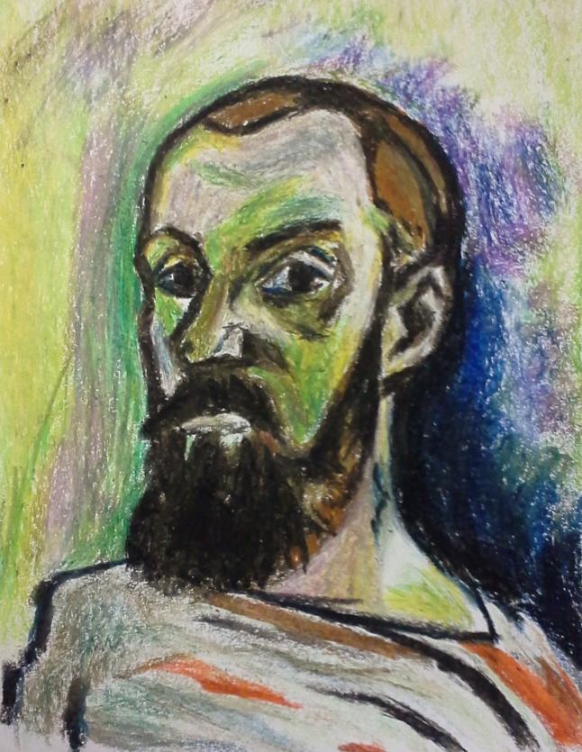 Re-Creation of Henri Matisse, self portrait in striped shirt