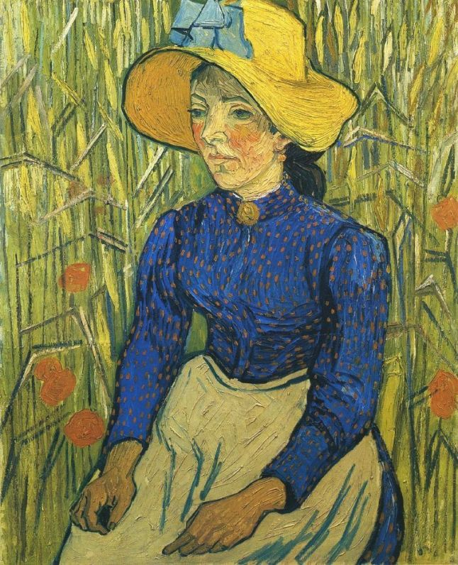 young peasant girl in straw hat 1890