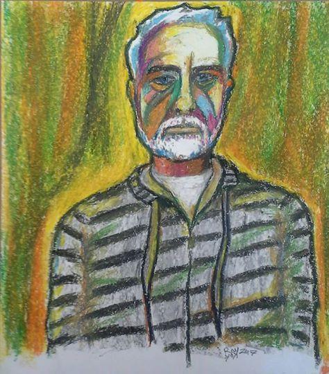 self portrait, fauve style