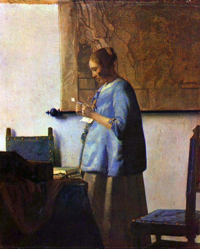 Johannes Vermeer, Woman in Blue Reading a Letter, c.1663