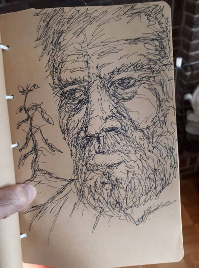 pen sketch portrait pine