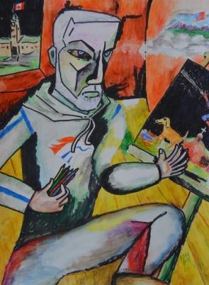 Self Portrait, Chagall-style