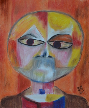 Self-portrait Klee style, Chalk Pastels, 2017